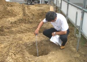 地盤改良工事の立会い検査